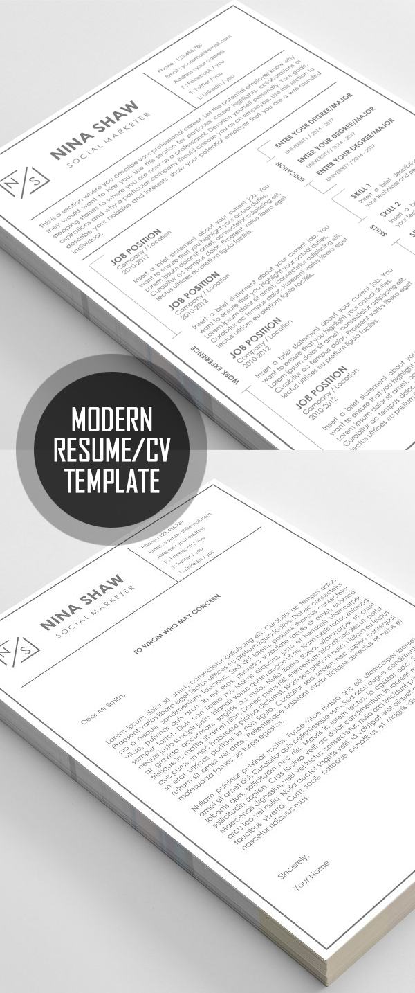 Modern Resume / CV Template #resumedesign