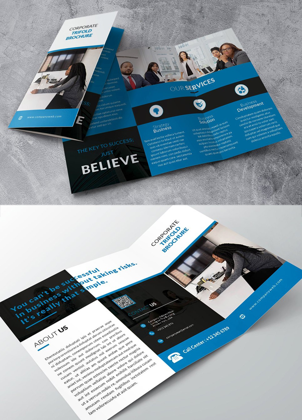 Trifold Blue Brochure