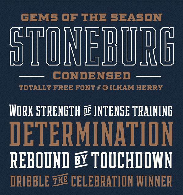 Stoneburg Condense Free Font Design