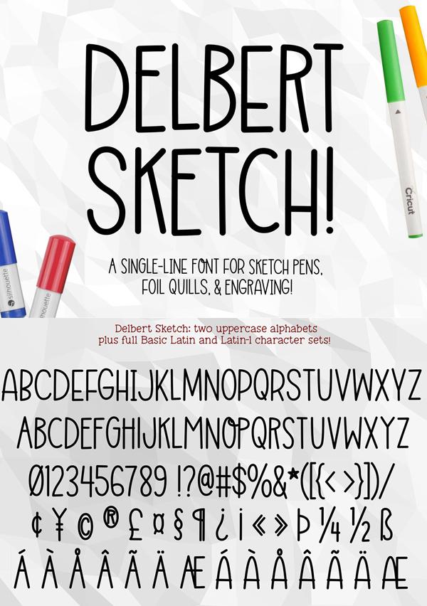 Delbert Sketch Free Font Design