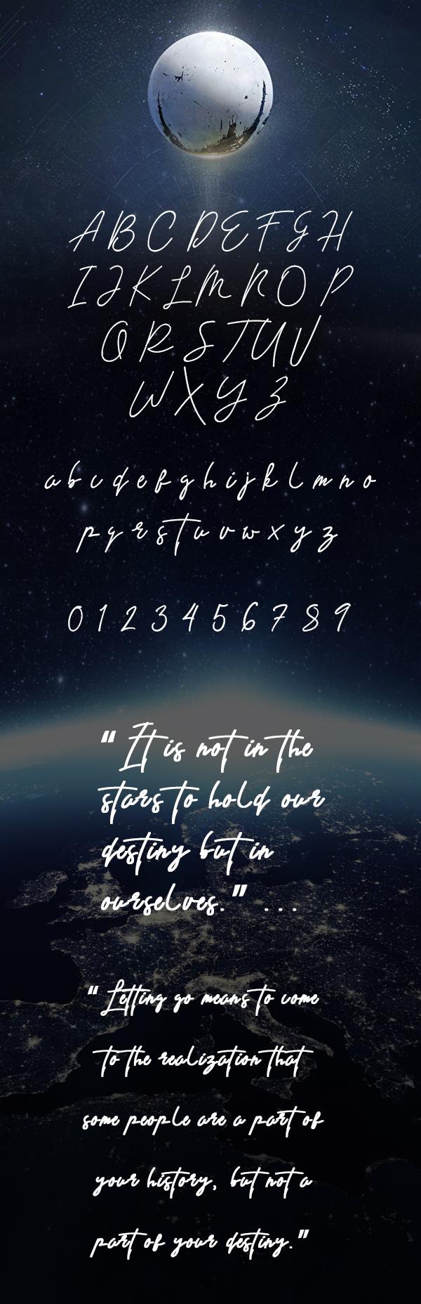 Destiny Free Signature Font Letters