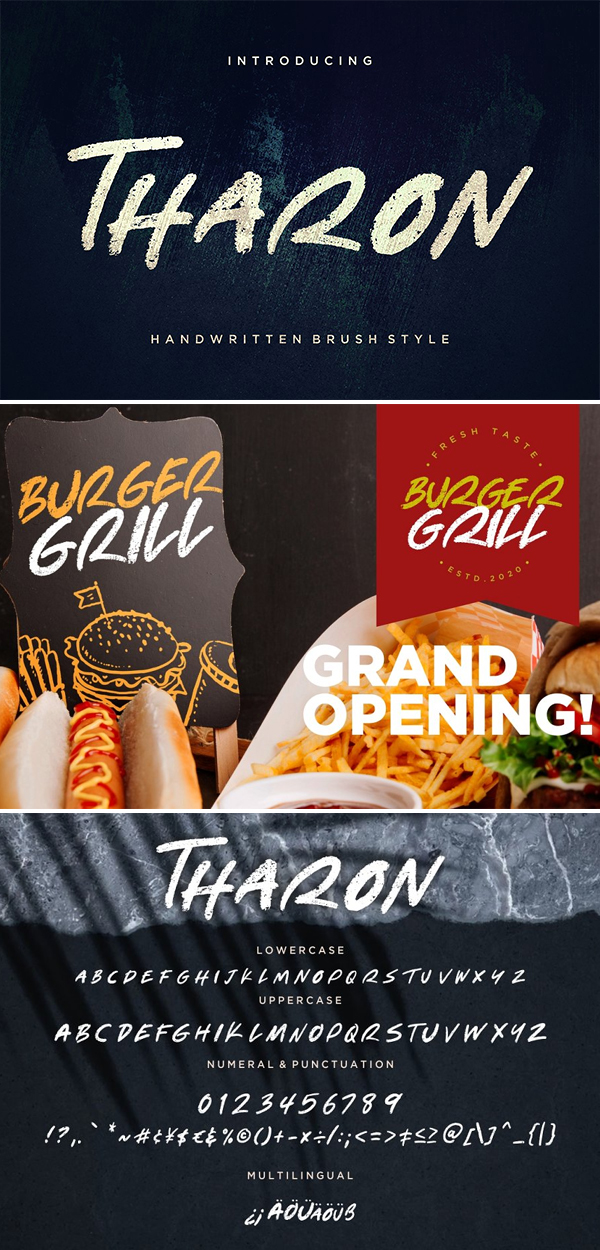 Tharon Brush Style Font Design