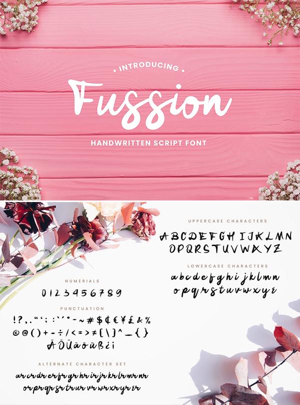 Fussion Handwritten Script Font Design