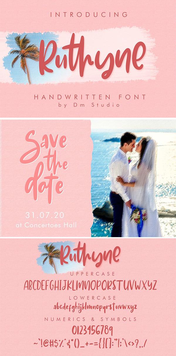 Ruthyne – Handwritten Font Design