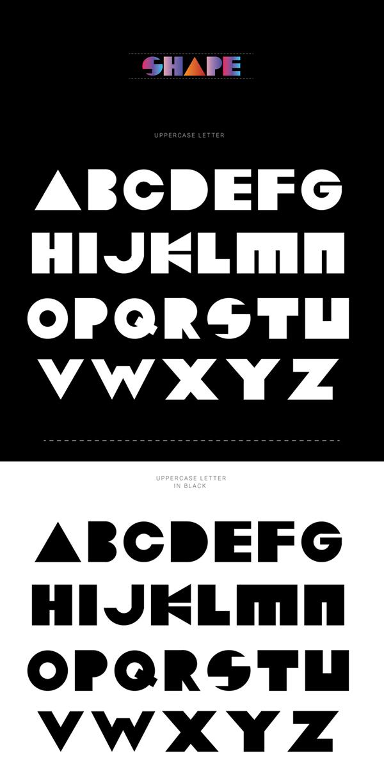 Shape Free Font Letters