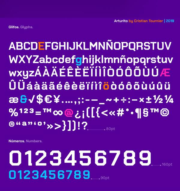 Arturito Free font letters