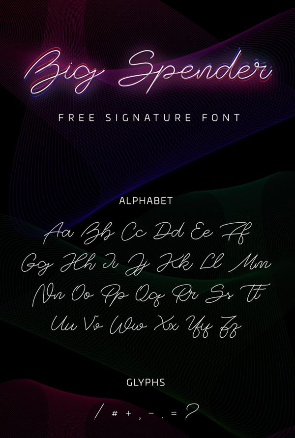 Big Spender Signature Free font