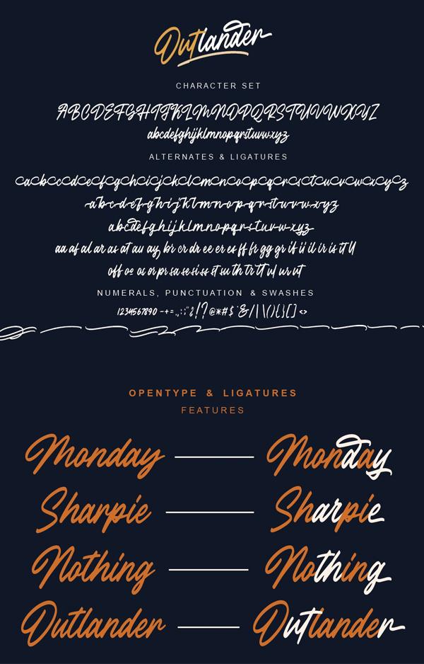 Outlander Brush Script Free font letters