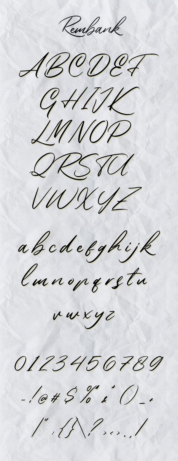 Rembank Script Free font letters