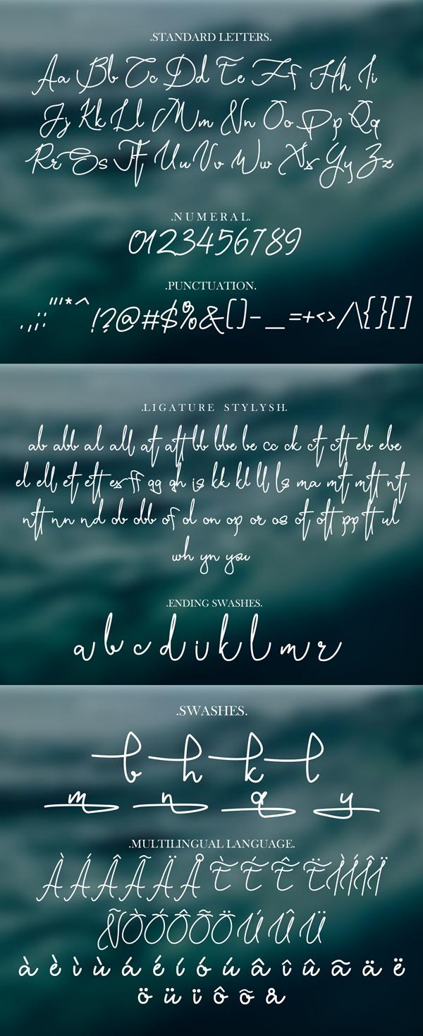 Yasmin Script Free font letters