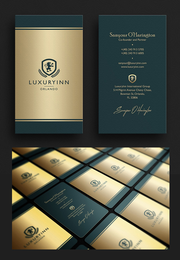 Elegant Green & Gold Business Card