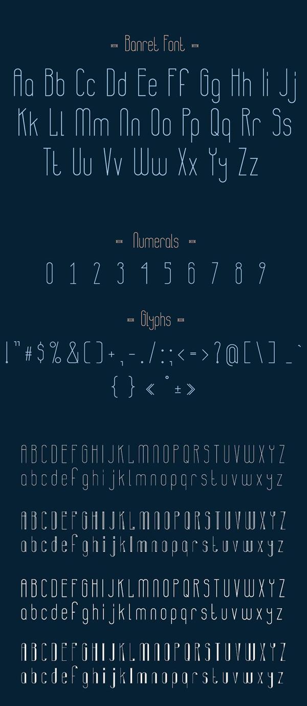 Banret Free Font Letters