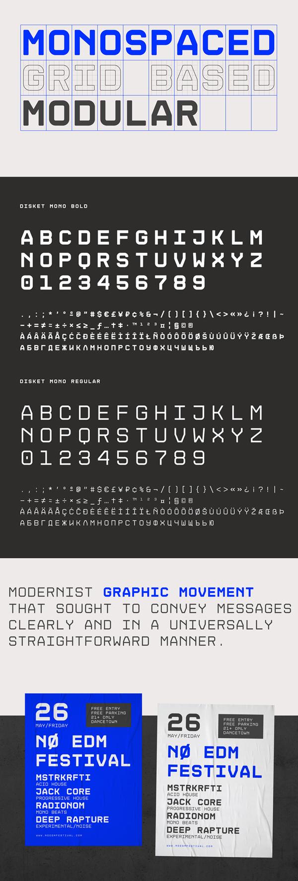 Disket Mono Free Font Letters