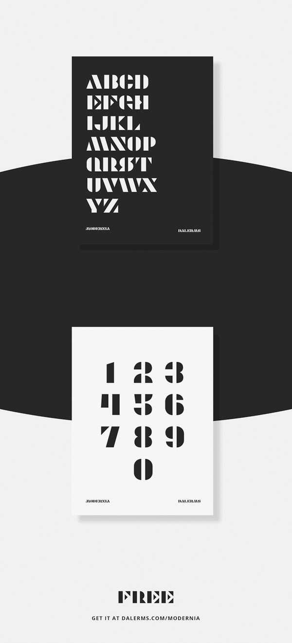 Modernia Free Font Letters