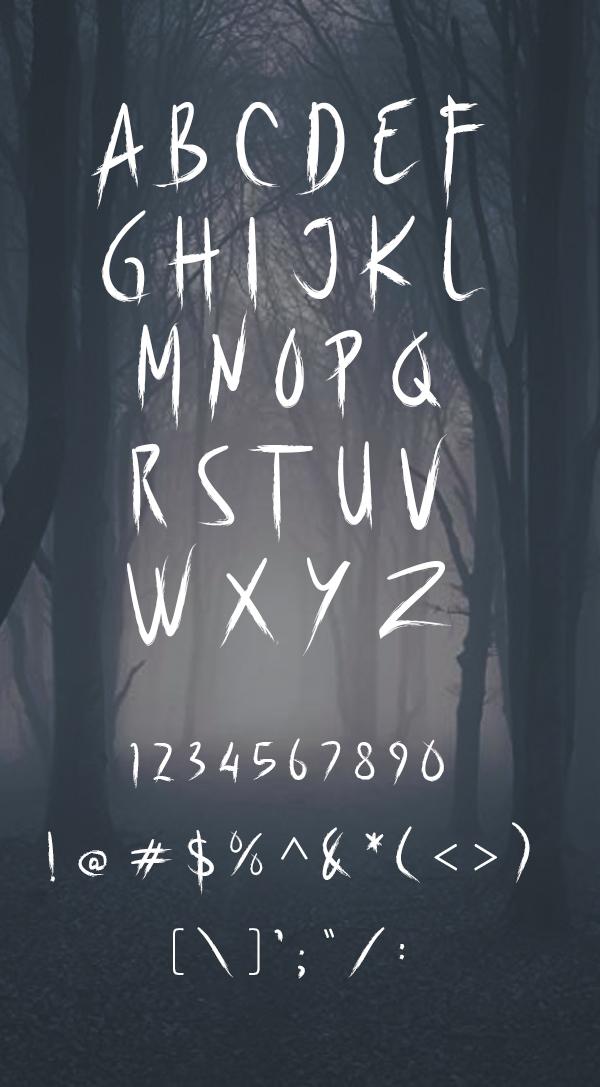 Scarekrowz Free Font Letters