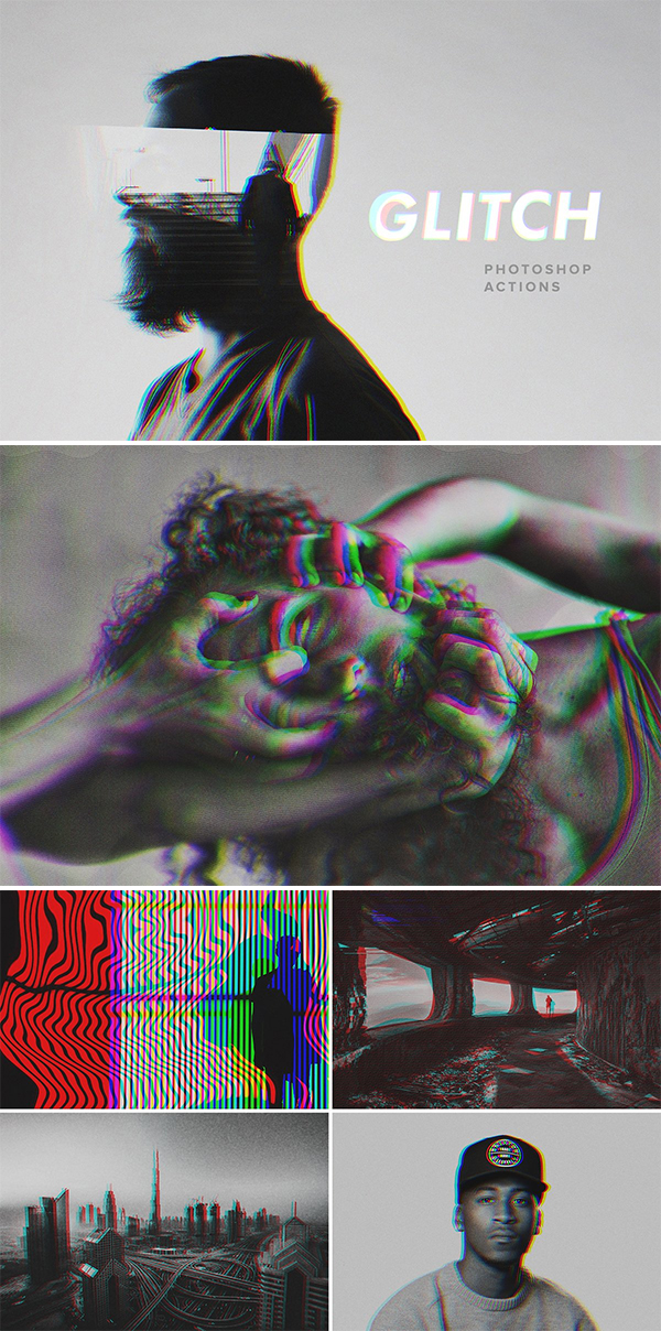 Glitch Photoshop Actions Set