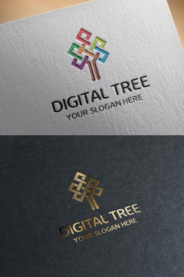 Digital Tree Logo Template - 2