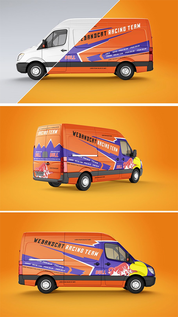 Realistic Van Mockup