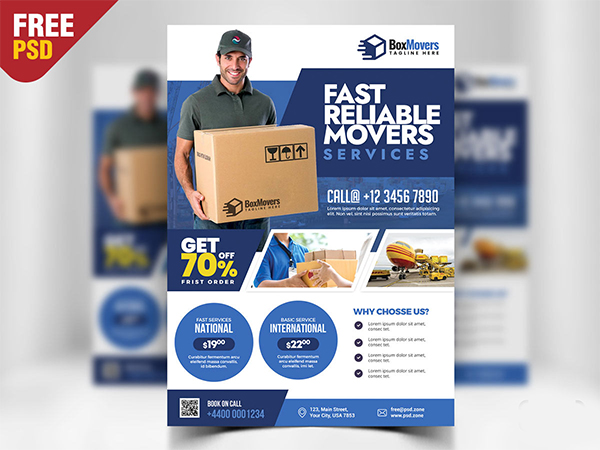 Courier and Logistics Service Flyer PSD