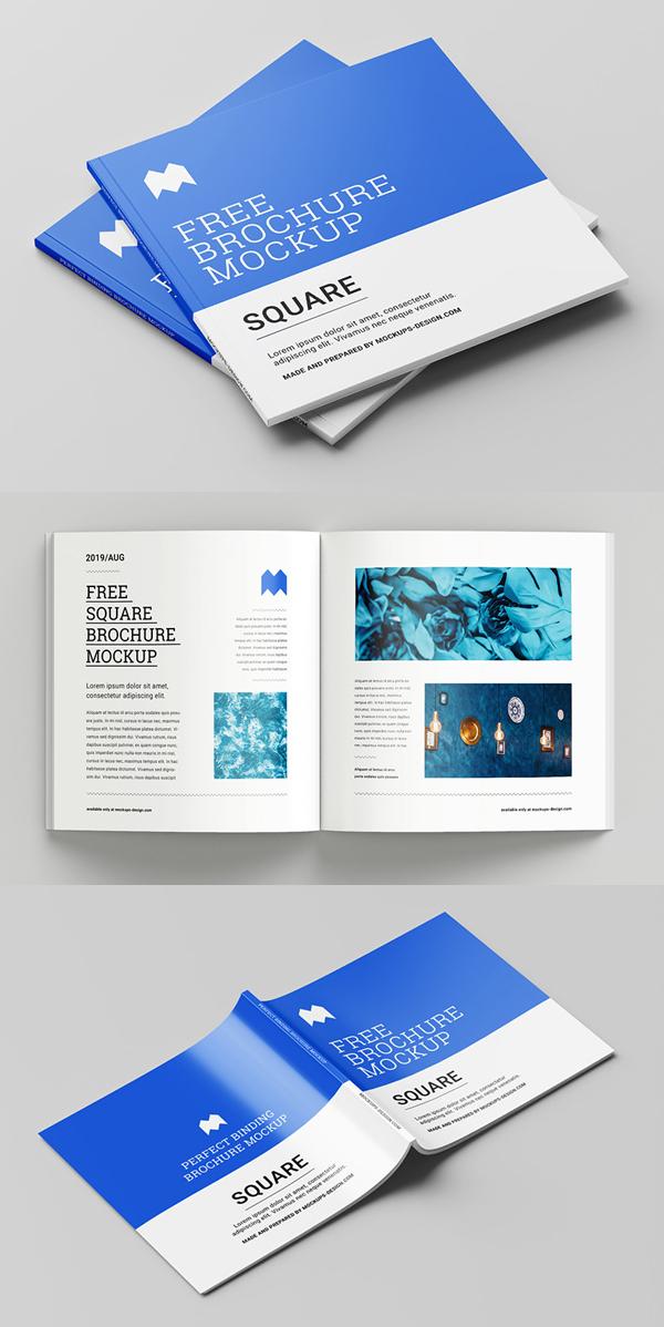 Free Perfect Binding Square Brochure Mockup