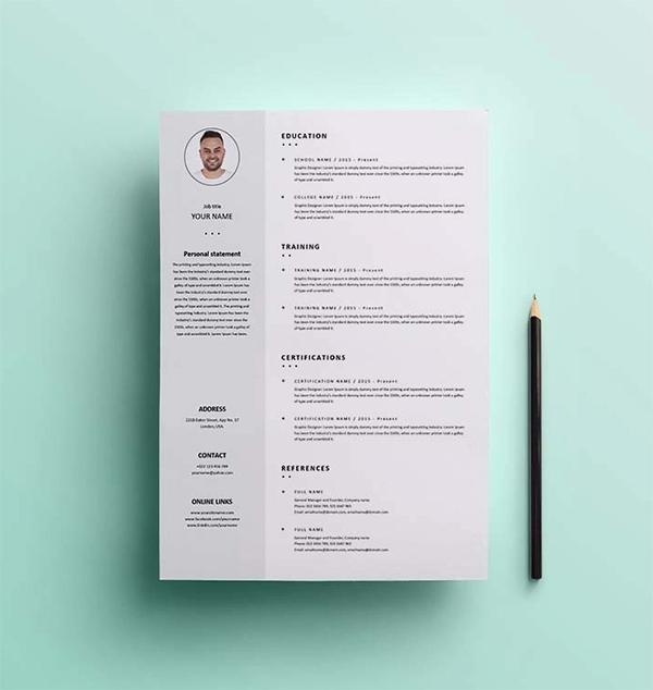 Simple Clean Resume / CV Template Design Free Download