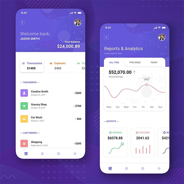 Finance App UI Concept Free Download