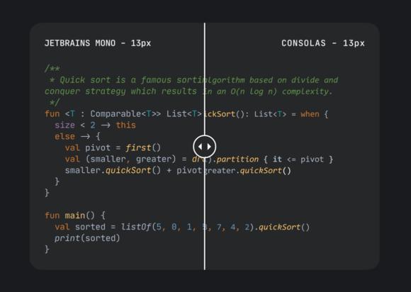 JetBrains Mono comparison
