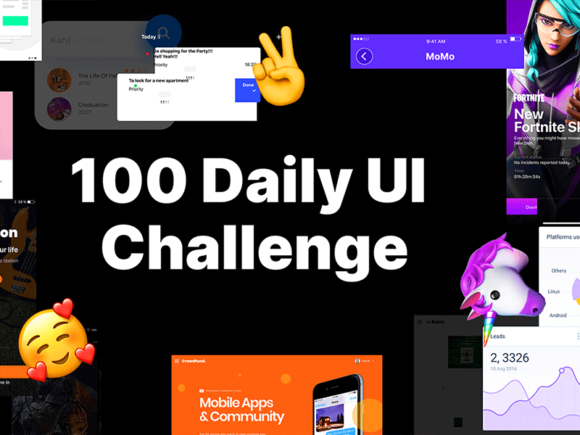 100 Daily UI Challenge: Big collection of elements