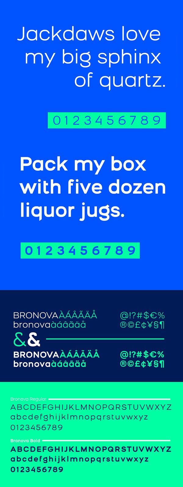 Bronova Font Letters