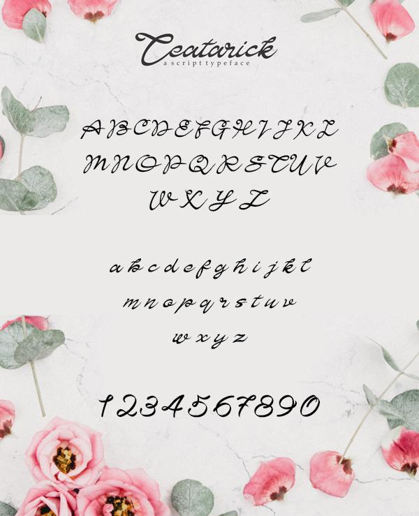 Teatarick Script Font Letters
