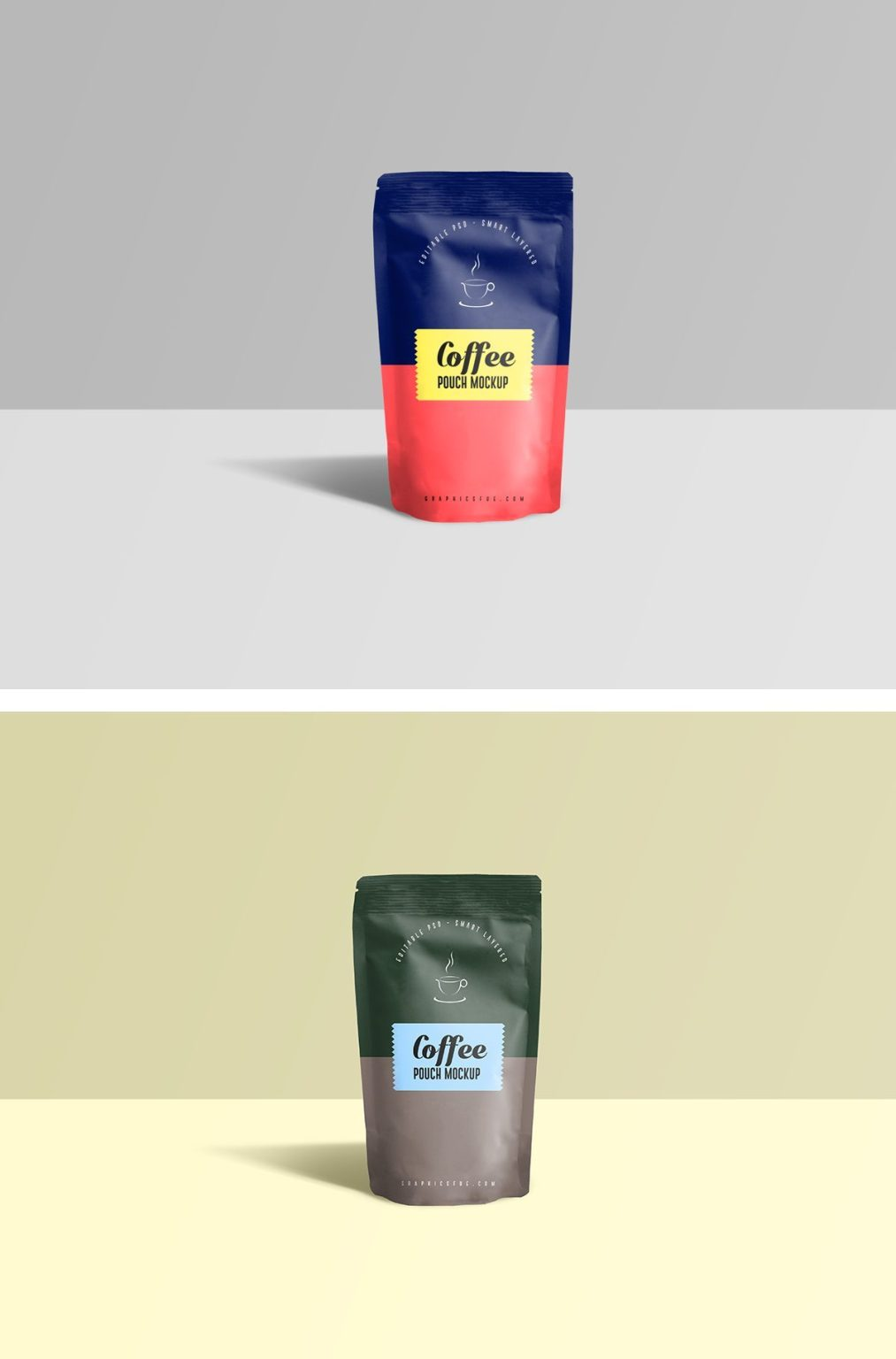 Free Coffee Pouch PSD Mockup