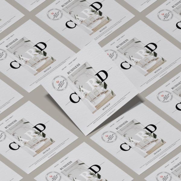 Free Modern Brand Square Business Card Mockup