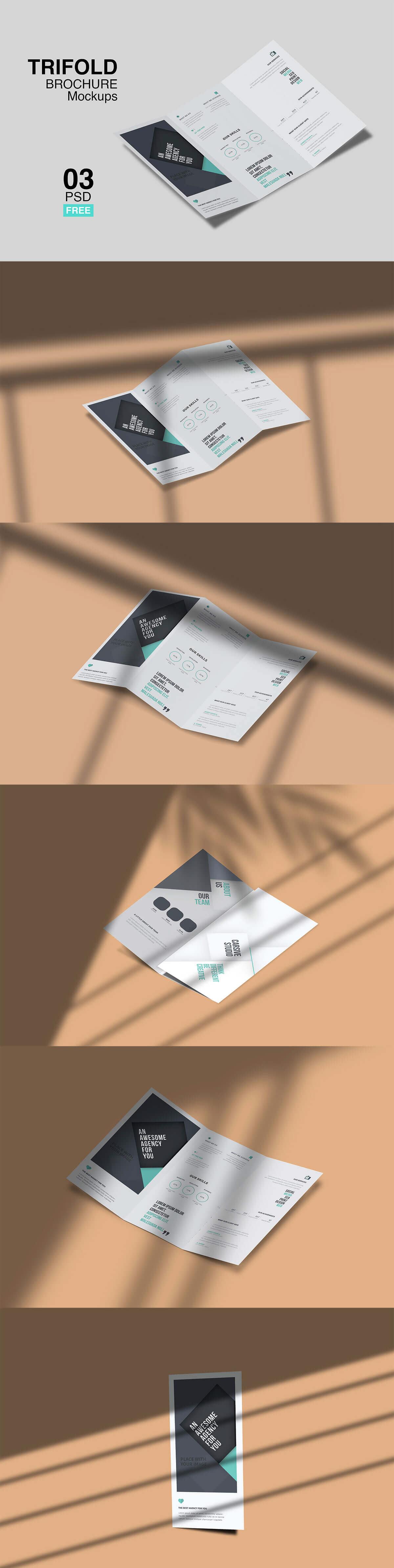 Free Trifold Brochure Mockup Templates