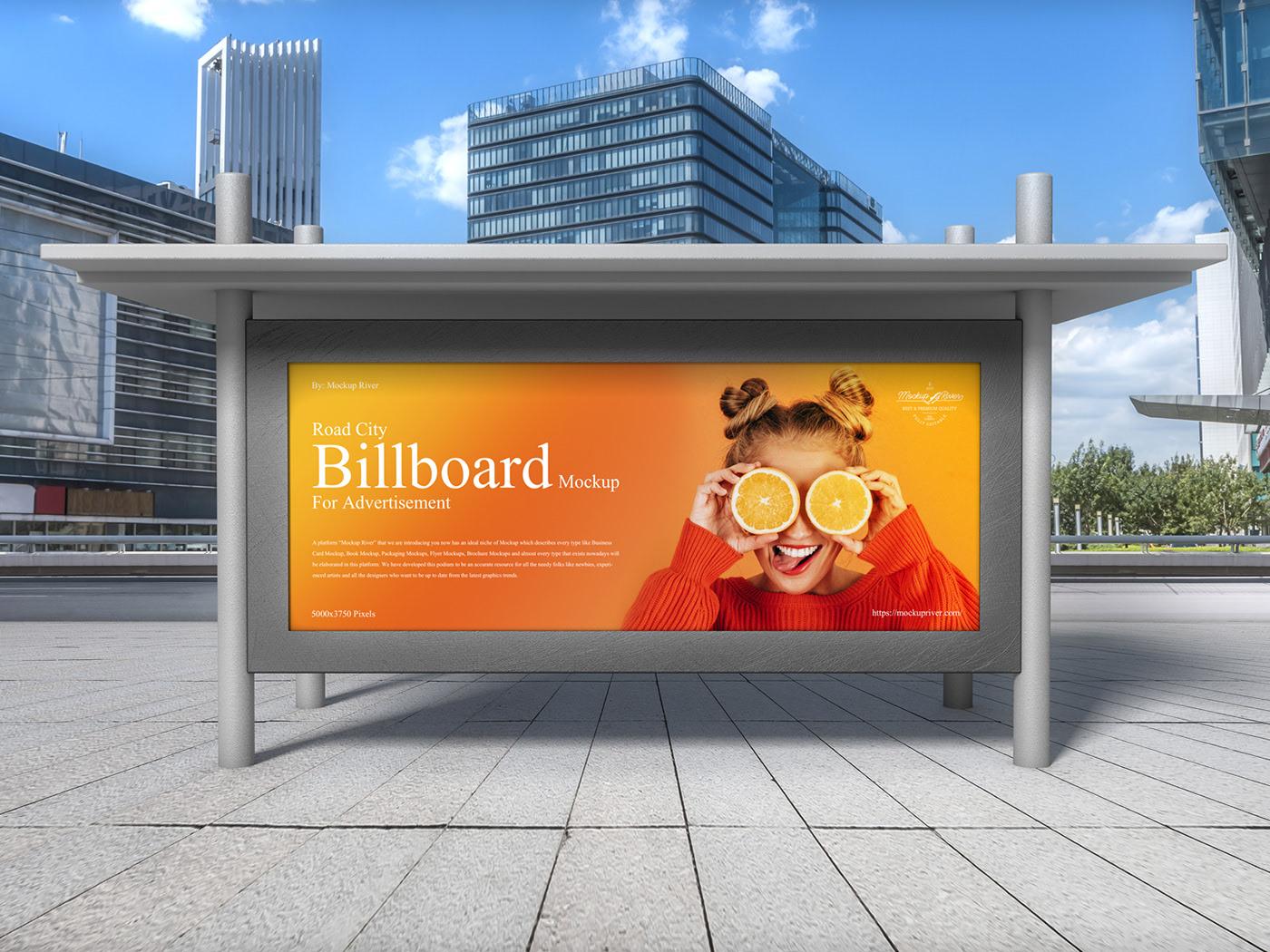 Free Road City Billboard Mockup For Advertisement