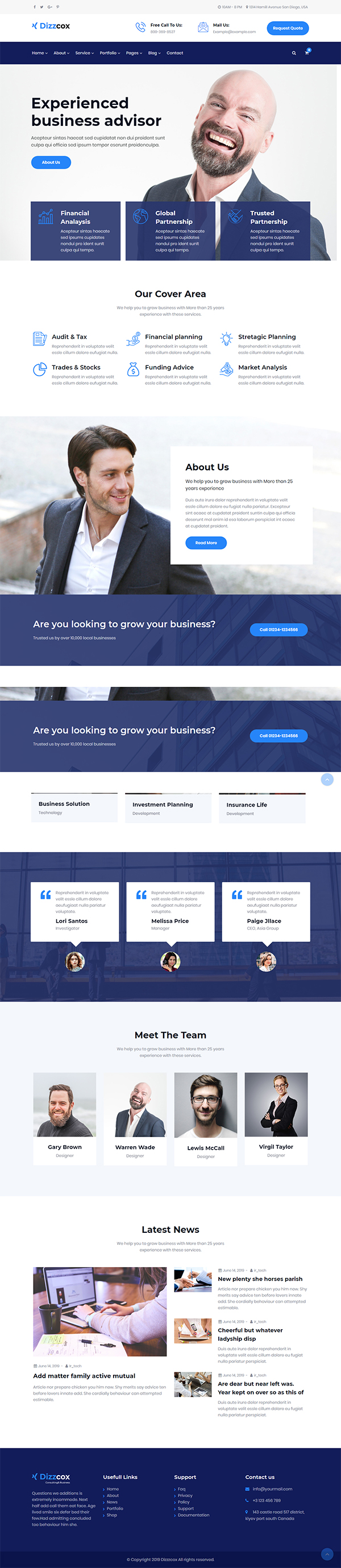 Dizzcox - Consulting Business WordPress Theme