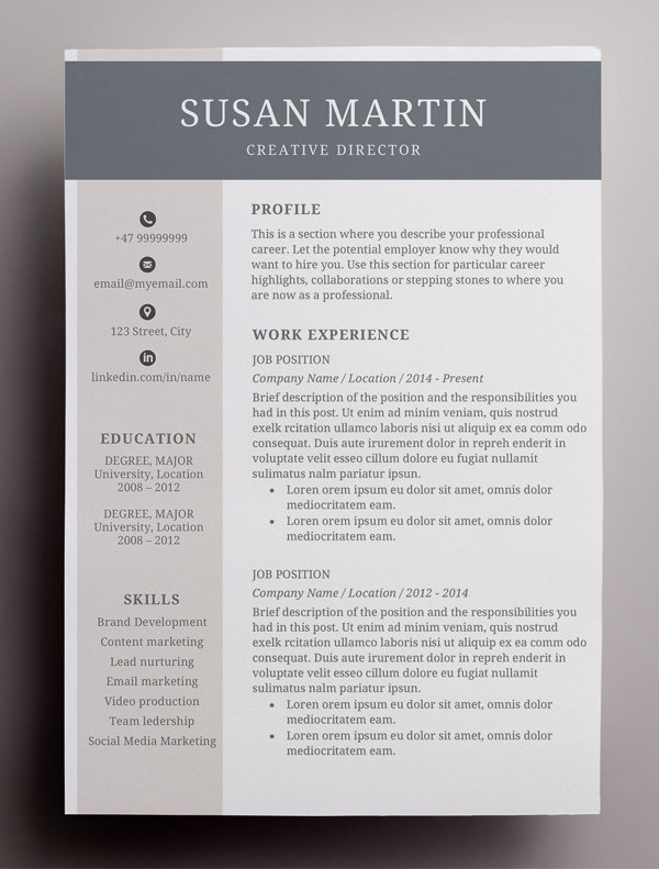 Simple Creative Resume Template / CV