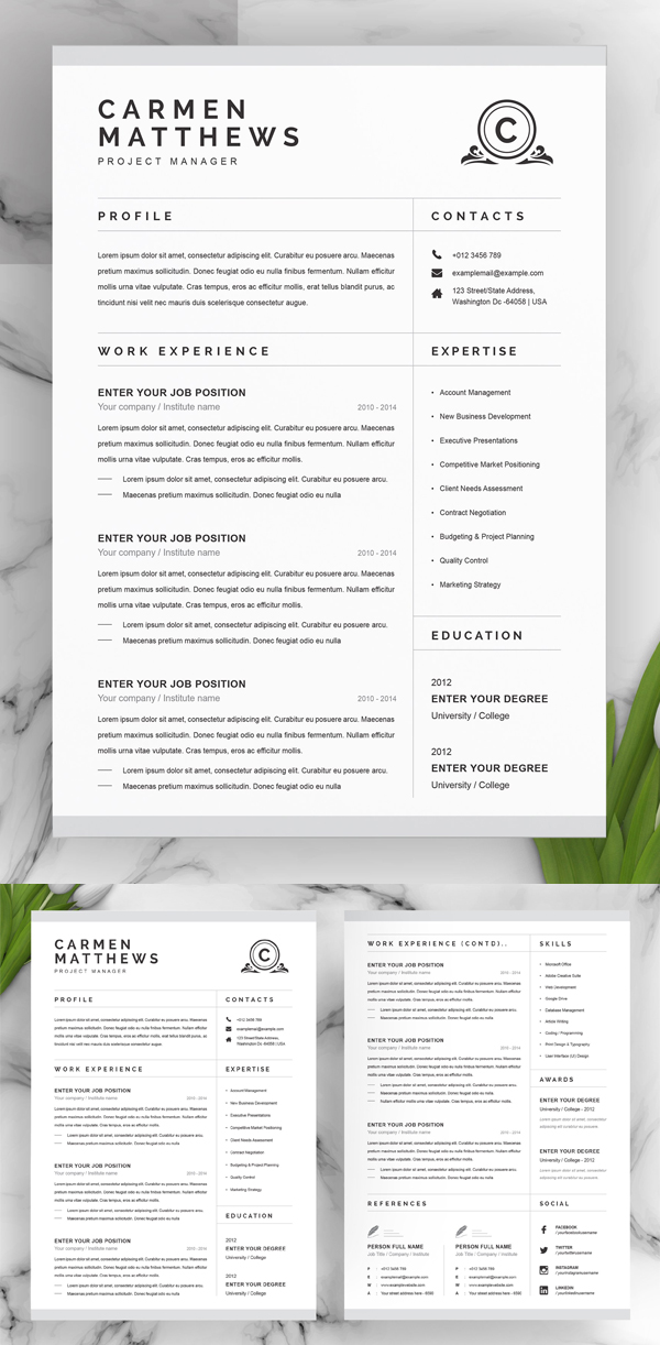 Clean Professional Resume / CV Template
