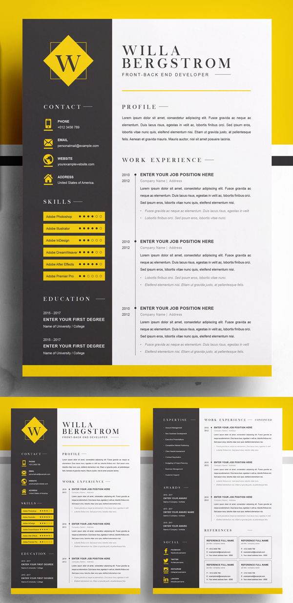 Minimal Yellow Resume Template / CV