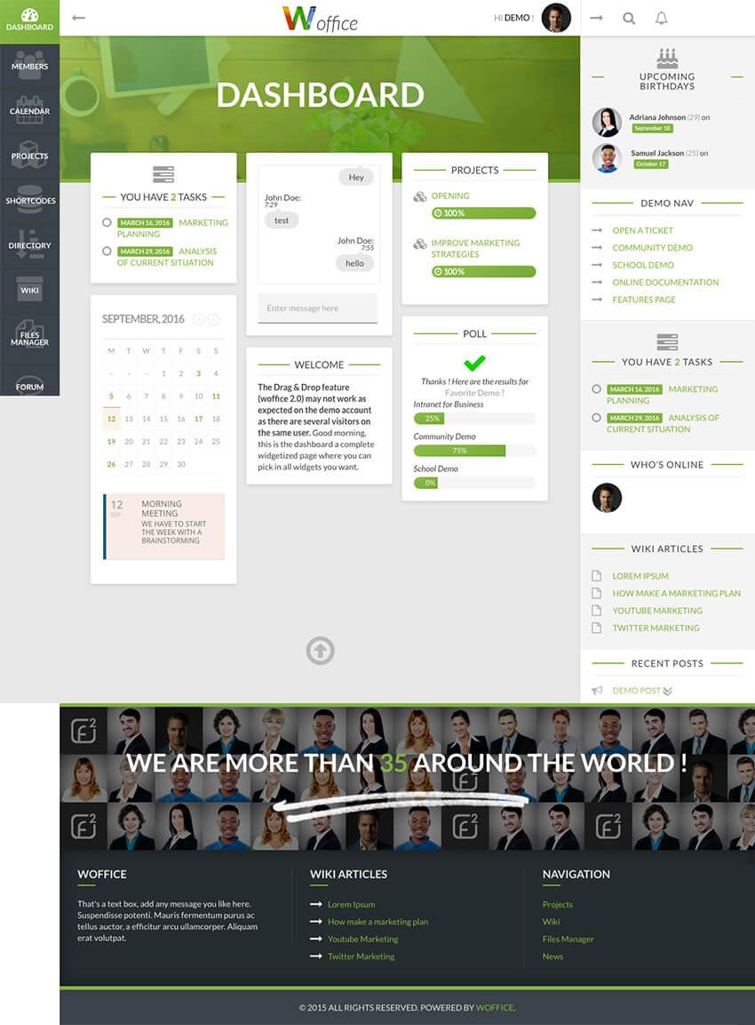 Woffice - IntranetExtranet Business WordPress Theme