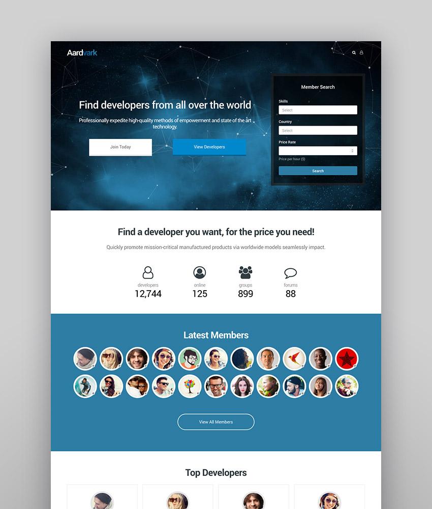 Aardvark - Community Membership BuddyPress Theme