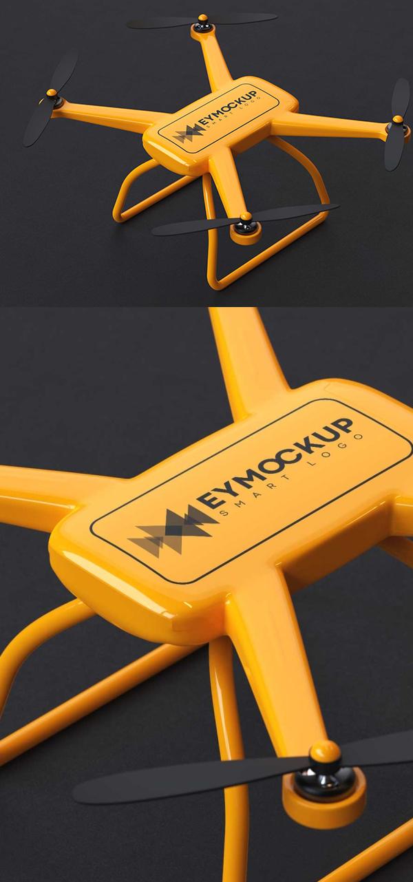 Free Angle Shot Drone Logo Mockup