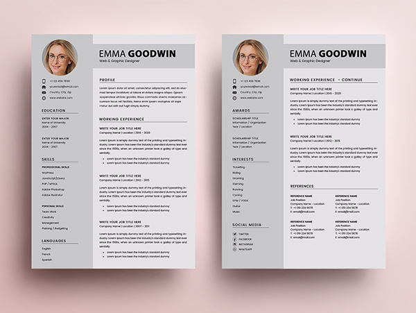 Free Resume 2 Page + Cover Letter Templates (PSD) - 5