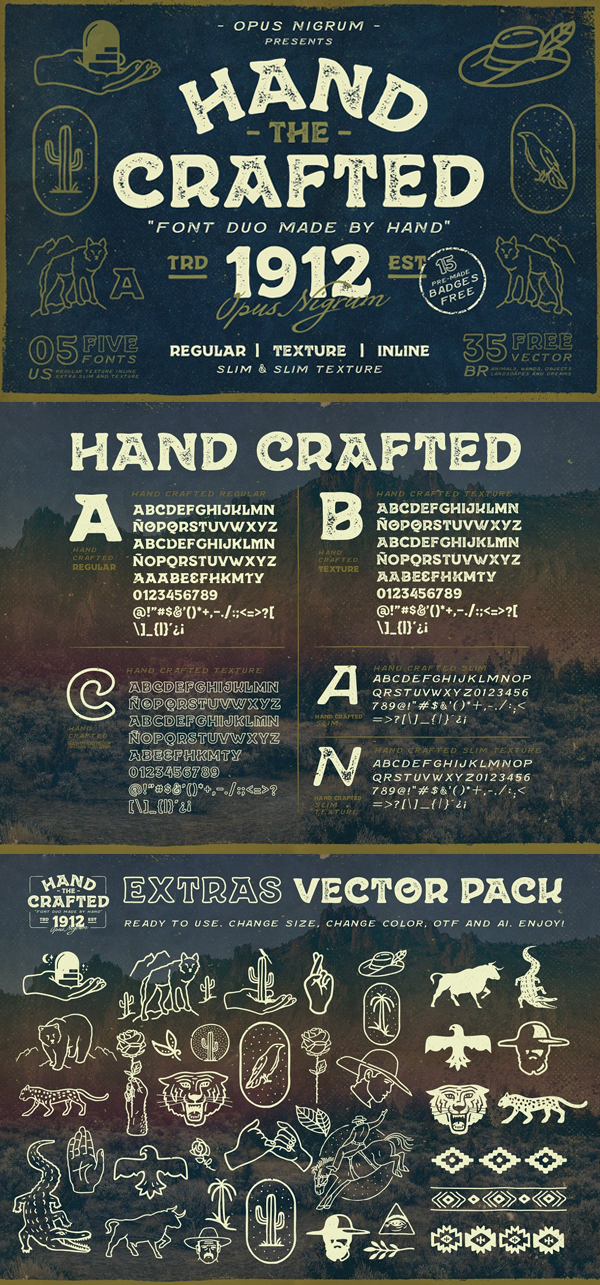 Hand Crafted Font Duo + Extras