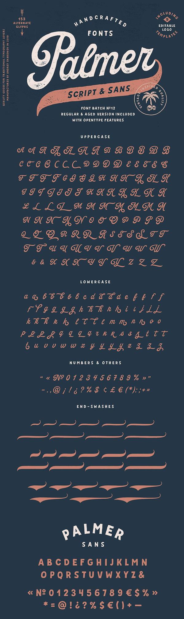 Palmer Script & Sans + Logo Template