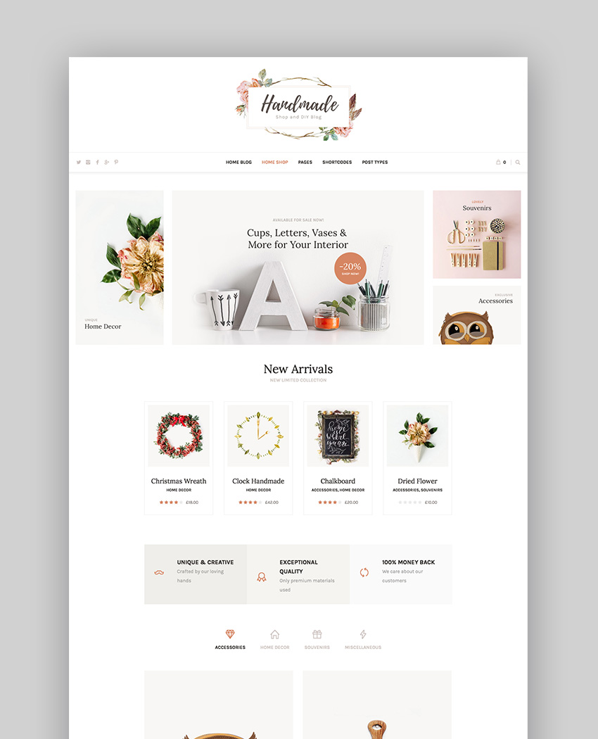 Handmade Shop - Handicraft Blog  Creative Shop WordPress Theme