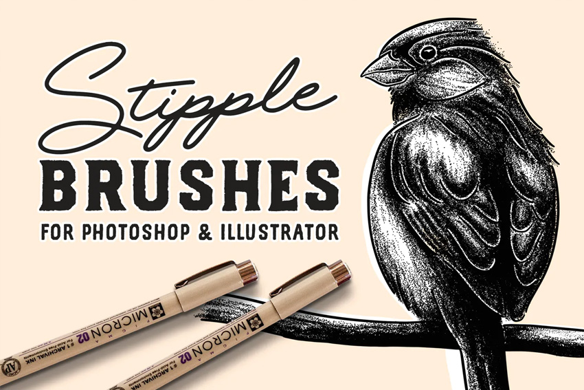 Stipple Brush Set for Photoshop and Illustrator