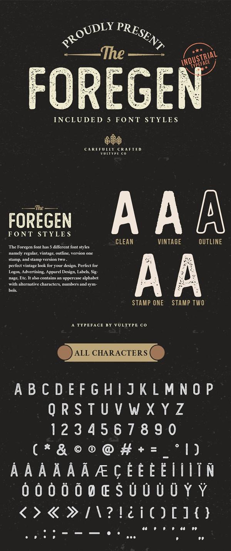 The Foregen - Vintage Stamp Font
