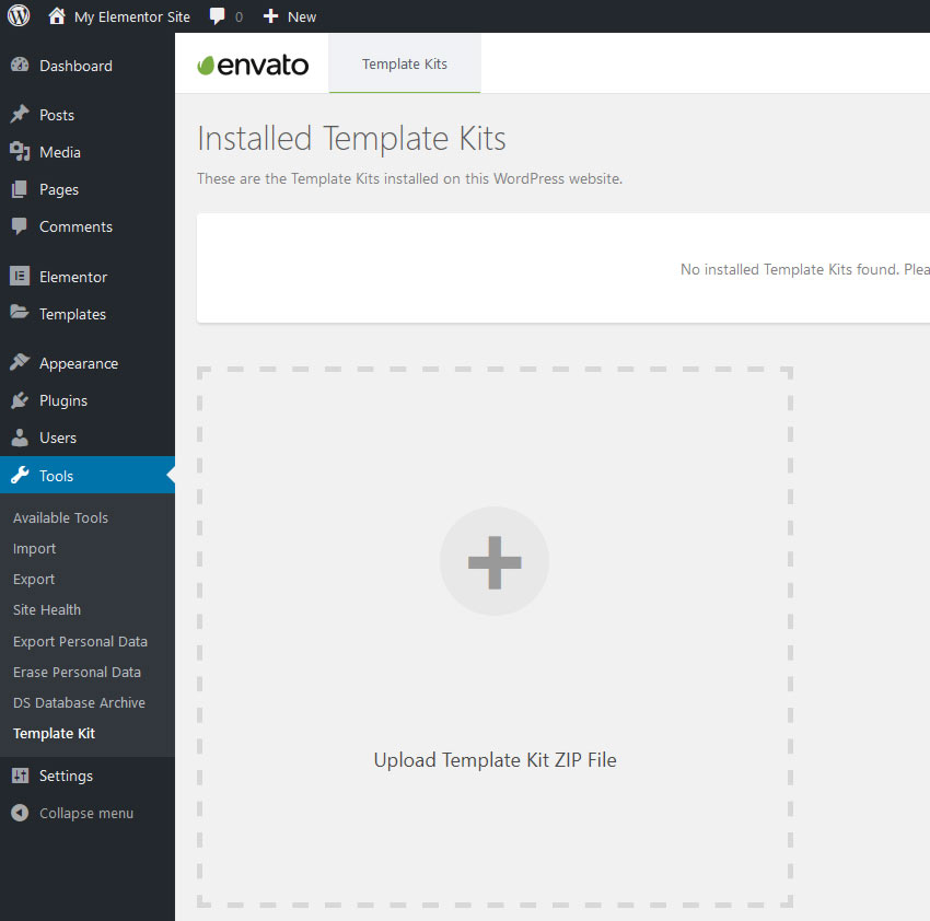 Envato Installed Template Kits Screen