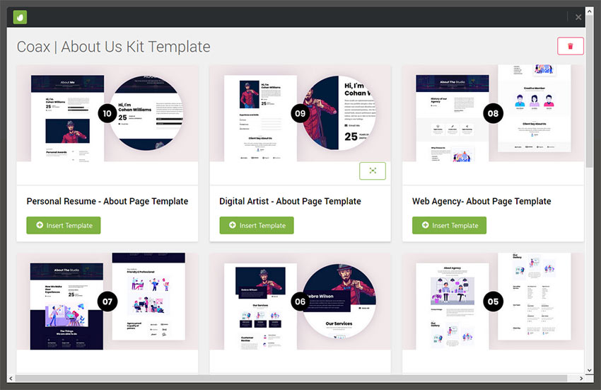 Template Kit Listing Screen