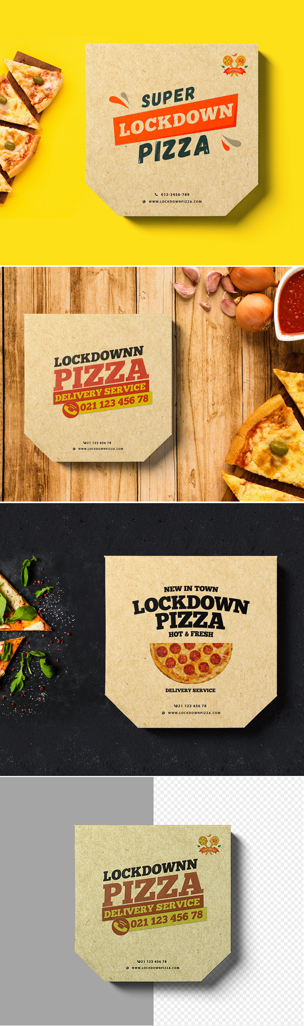 Free Pizza Box Mockup PSD